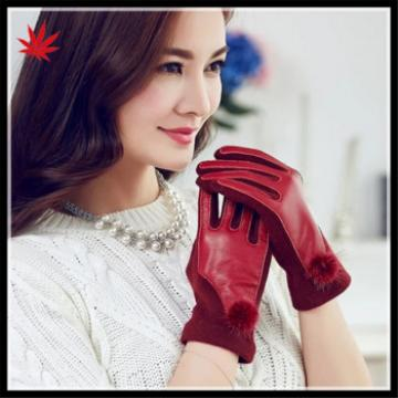 2016 fashion women wear accessory touch screen hand dresses leather gloves with fur ball