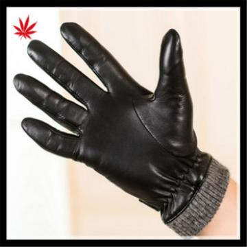 mens knitted cuff real leather gloves for foreign trade wholesale