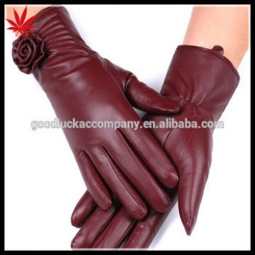 china wine red /claret camellia on the cuff women's leather gloves