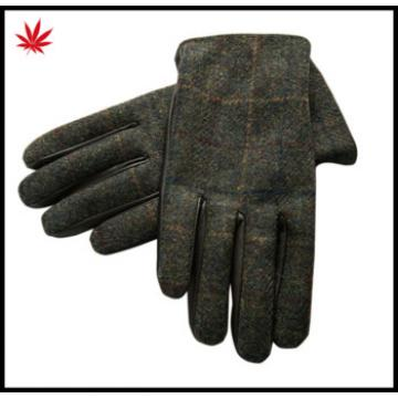 Men 's dress stitching designs fabric and leather gloves