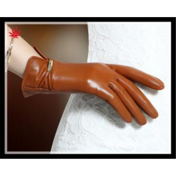 Lady's colorful finger trimmed genuine leather gloves