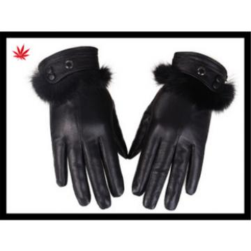 women hand dress black genuine sheepskin leather gloves with fur cuff for women party