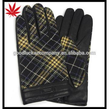 Men's winter touch leather and fabric gloves lined woolen with leather belt