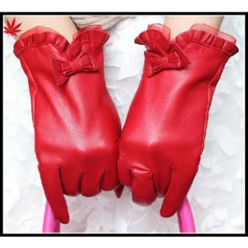 High Quality Red sheepskin bow leather gloves