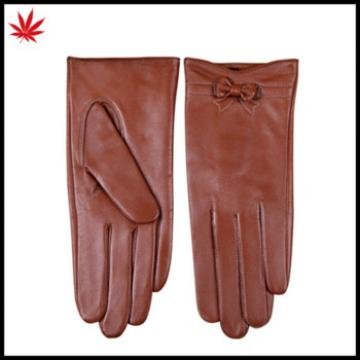 2016 Best sales High quality Ladies camel colored leather gloves