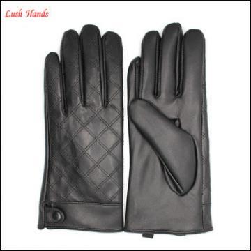 women's embroid black sheepskin winter leather gloves