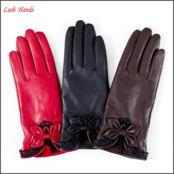 Women's Silk Lined Plain Hairsheep Leather Gloves with Bow Detail