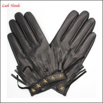 fashion ladies letaher glove with five- pointed star and tassels
