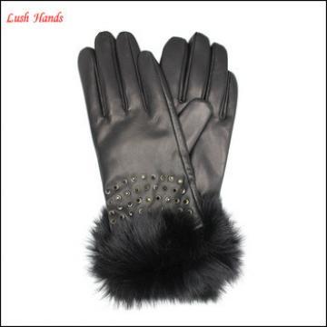 Ladies black sheepskin leather gloves with Rabbit fur