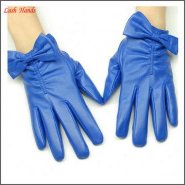 ladies navy leather gloves with bow cuff details