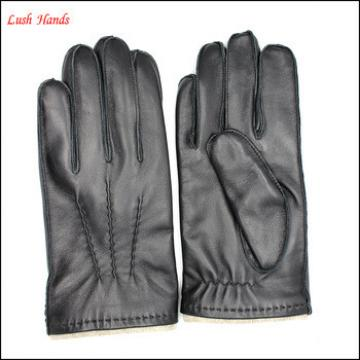 Fasion sheepskin genuine leather gloves black