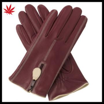 Popy--polyester lining leather gloves with zip-red