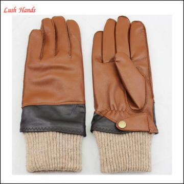 2016 men's brown leather gloves two tone colors leather gloves knitted rib top and belt buckles