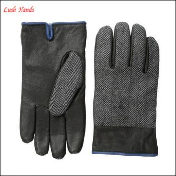 Men's woven herringbone cheap leather gloves