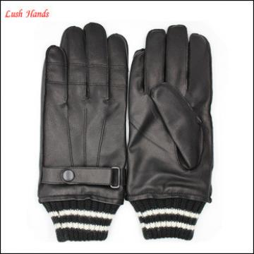 Men's warm knit cuff leather gloves with outside sewing