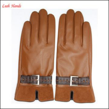 women's brown sheepskin leather gloves and pigsuede eather whose palm touch screen