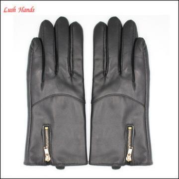 women sheepskin leather gloves have touch screen with zipper