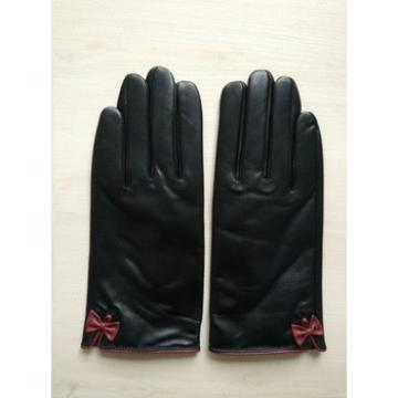 ladies genuine winter thin leather hand gloves with red bow