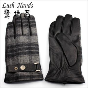 Good quality napa leather and cloth checker gloves for men