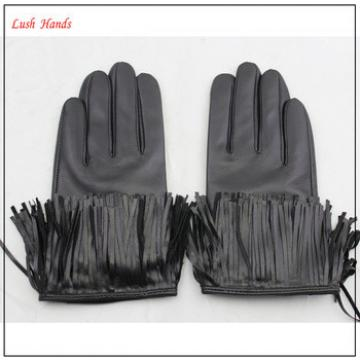 ladies cheap genuine fringed leather gloves with tassel ending