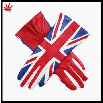 Ladies wholesale fashion English splicing leather gloves