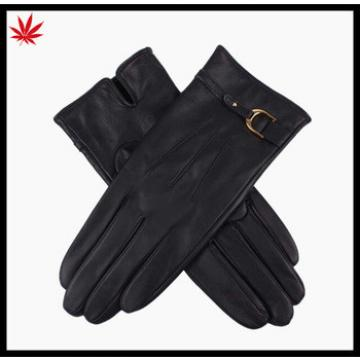 High quality cheap winter women kidskin leather gloves with leather belt