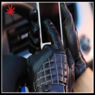 men's black genuine leather gloves for wholesale with checkers on back