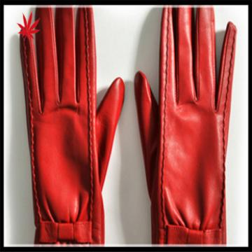 lady's finger trimmed bright red genuine sheepskin leather gloves