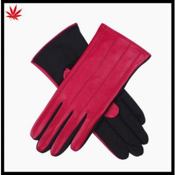Ladies fashion rose red kidskin leather gloves with cloth