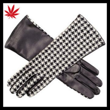 Ladies Houndstooth Cashmere and Leather Musketeer Gloves