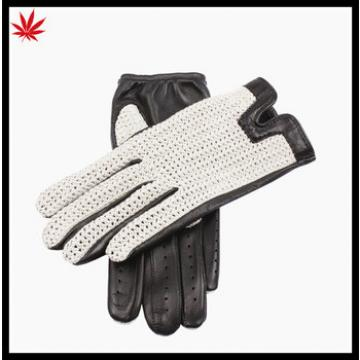 Ladies cheap knitting back police driving leather gloves