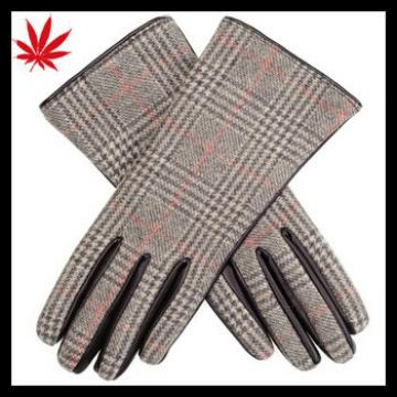 Cheap leather women gloves manufacturer combined cloth