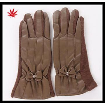 women's brown dress hand woolen-leather gloves with belt buckles