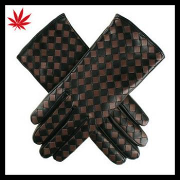 Black and Taupe Woven Leather Gloves for the fashion lady