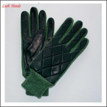 Winter leather gloves black and green knit cuff for men