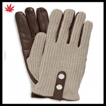 China's high quality woolen-leather combined hand gloves with buttons
