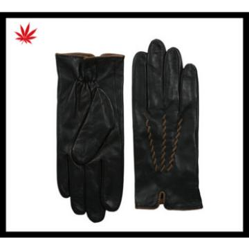 women high Quality wearing sheepskin leather glove TWO TONE Back of the wore pimp, palms open leather gloves