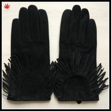 fashion tassel suede leather hand gloves women