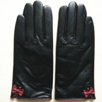 genuine lambskin women fashion bow leather glove