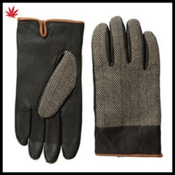 2016 men 's fashion original penguin woven herring bone /leather gloves