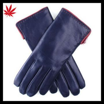 Navy and customized Red Rabbit Lined womens Leather Gloves