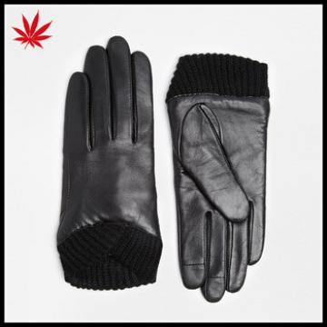 Black women China gloves leather with knit cuff