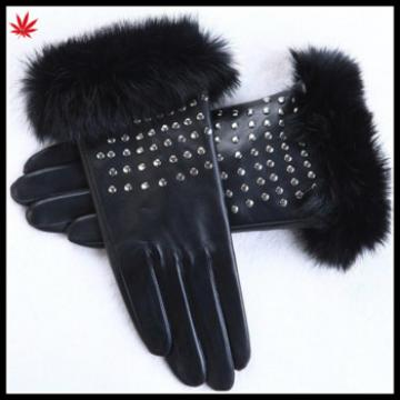 Sexy women studded leather gloves real rabbit fur cuff leather gloves