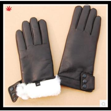 ladies high-grade genuine leather gloves with wool lining