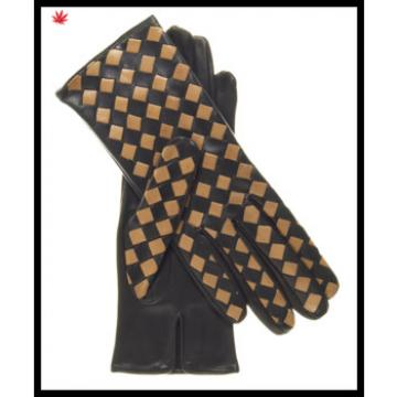 Ladies smart phone touch screen sheepskin weaved checker leather gloves for wholesale