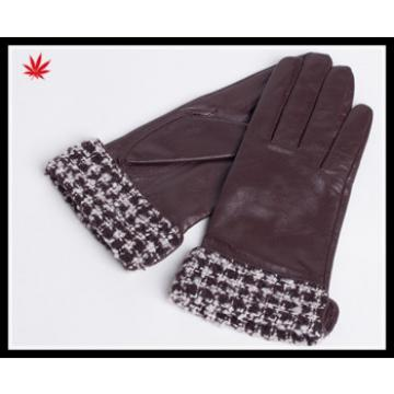 Women 's silk lined leather gloves with fabric cuff detail