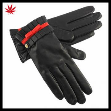 ladies sheepskin dubai importer leather gloves with red bow and flod side
