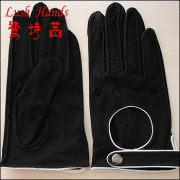 2016 black wholesale driving suede gloves with knuckle holes