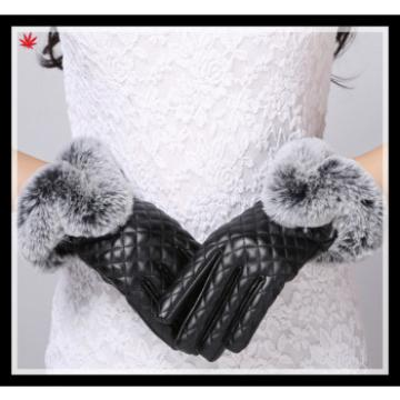 women's black checkered leather gloves with rabbit fur cuff