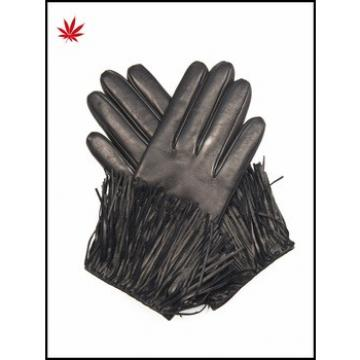 ladies fashion cheap leather gloves with tassel
